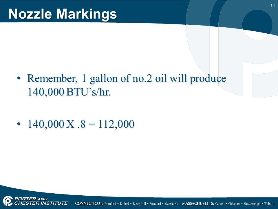 11 Nozzle Markings Remember, 1 gallon of no.2 oil will produce 140,000 BTU's/hr. 140,000 X.8 = 112,000 Remember, 1 gallon of no.2 oil will produce 140