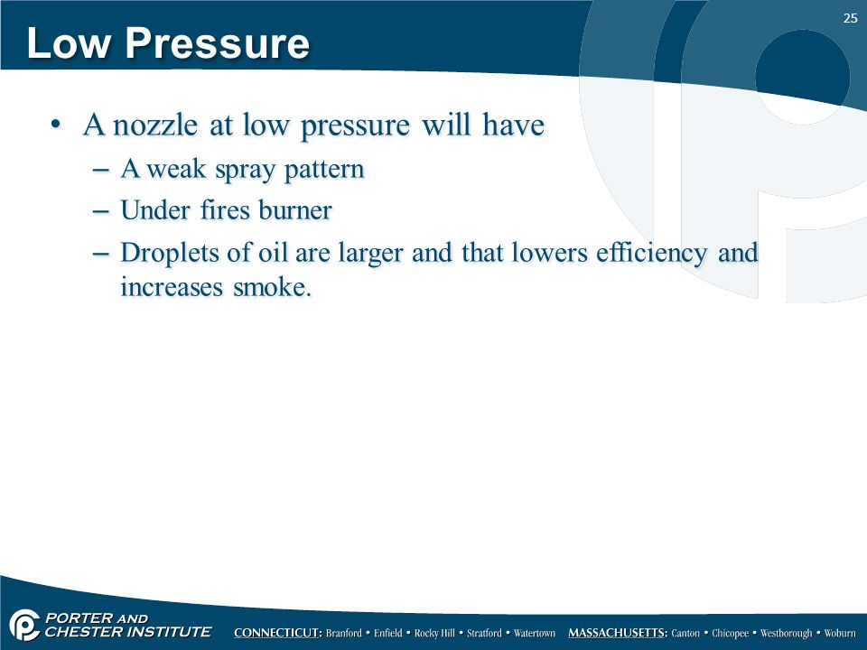 25 Low Pressure A nozzle at low pressure will have –A weak spray pattern –Under fires burner –Droplets of oil are larger and that lowers efficiency an