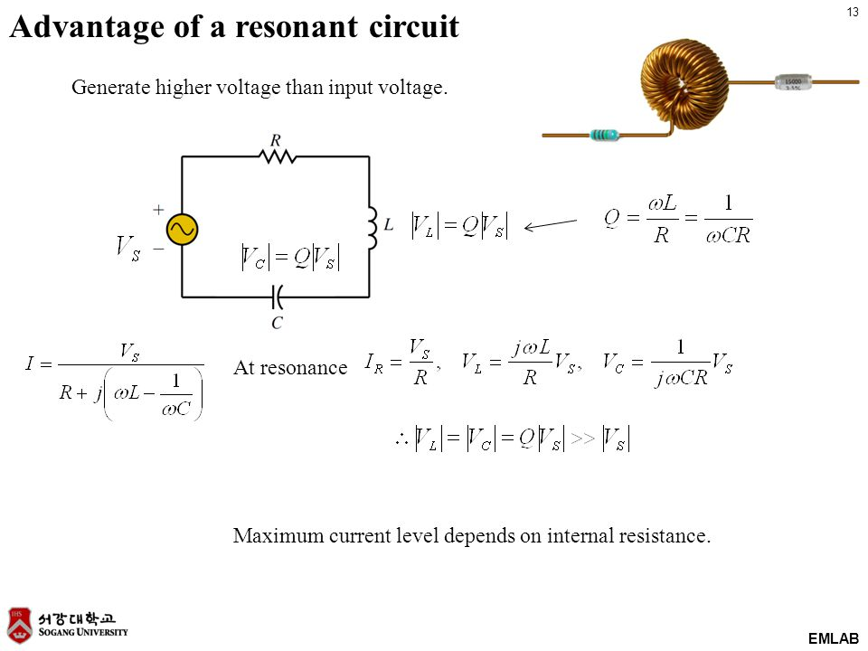 13 EMLAB Advantage of a resonant circuit At resonance Generate higher voltage than input voltage.