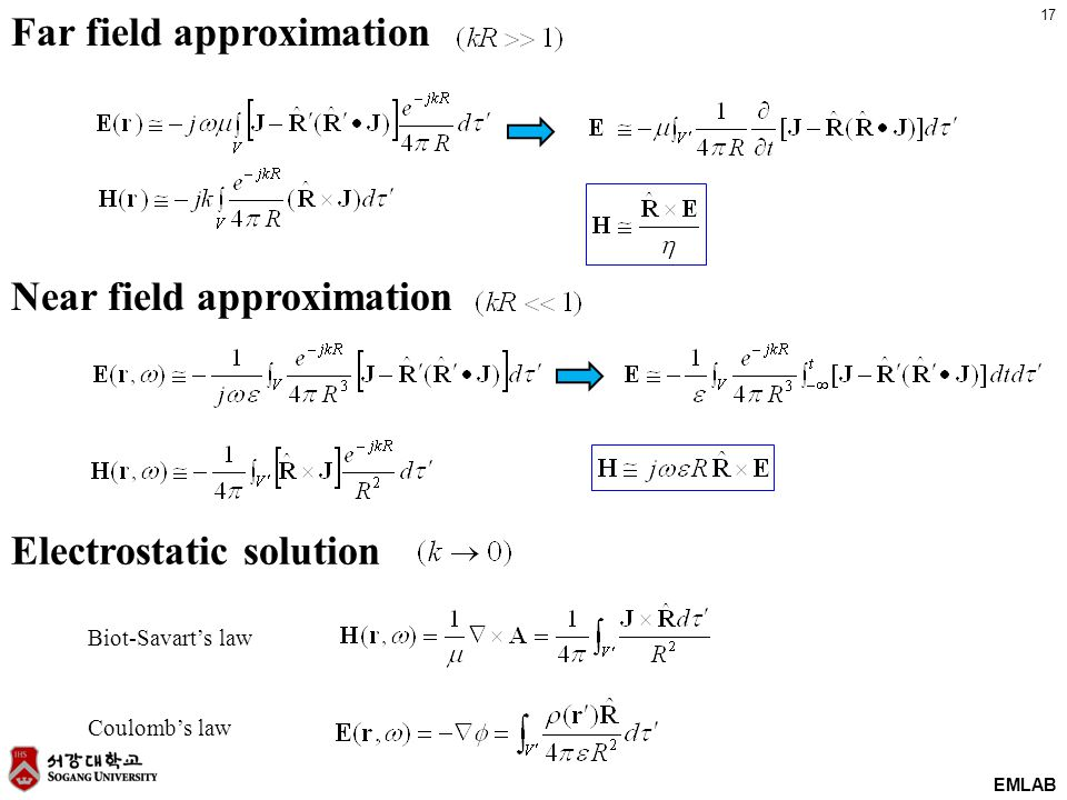 17 EMLAB Far field approximation Electrostatic solution Biot-Savart's law Coulomb's law Near field approximation