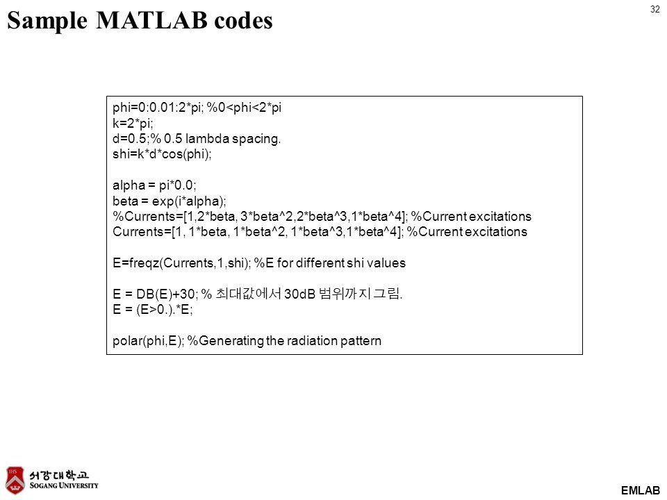 32 EMLAB phi=0:0.01:2*pi; %0<phi<2*pi k=2*pi; d=0.5;% 0.5 lambda spacing. shi=k*d*cos(phi); alpha = pi*0.0; beta = exp(i*alpha); %Currents=[1,2*beta,