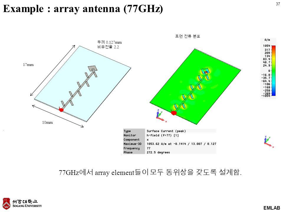 37 EMLAB 77GHz 에서 array element 들이 모두 동위상을 갖도록 설계함.