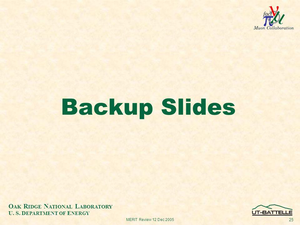 O AK R IDGE N ATIONAL L ABORATORY U. S. D EPARTMENT OF E NERGY 25 MERIT Review 12 Dec 2005 Backup Slides