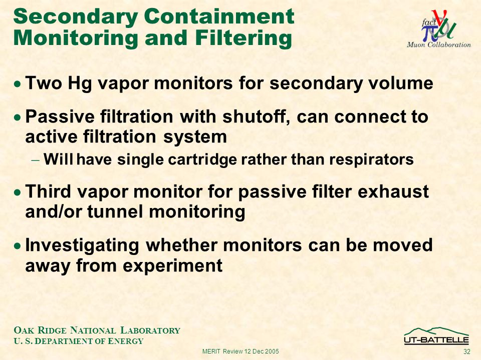 O AK R IDGE N ATIONAL L ABORATORY U. S. D EPARTMENT OF E NERGY 32 MERIT Review 12 Dec 2005 Secondary Containment Monitoring and Filtering  Two Hg vap