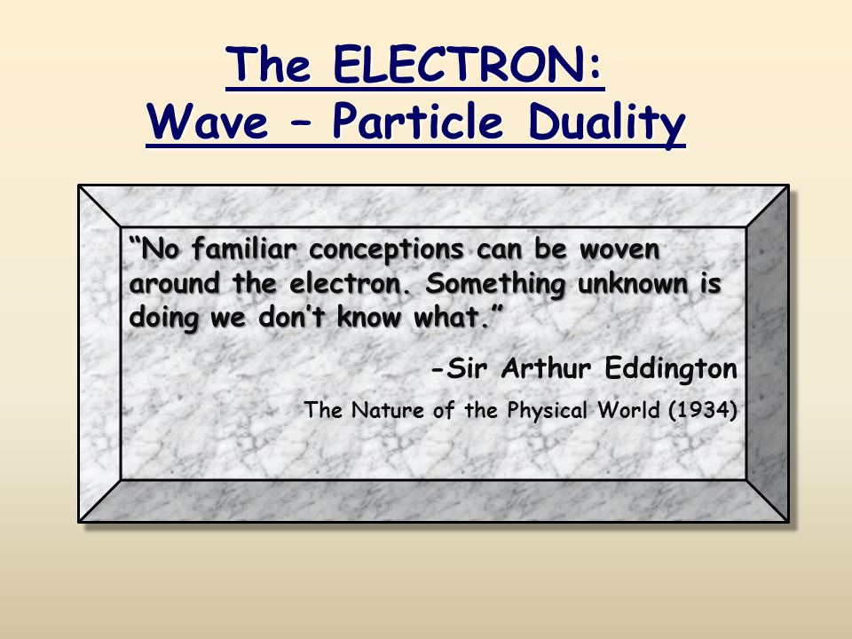 No familiar conceptions can be woven around the electron.