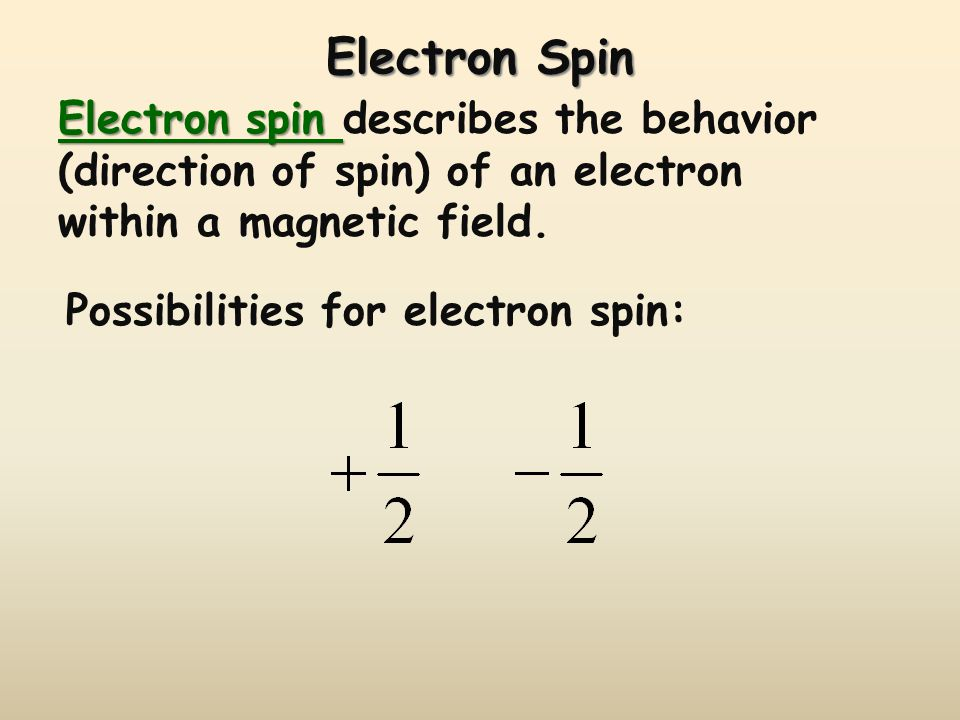 Electron Spin Electron spin Electron spin describes the behavior (direction of spin) of an electron within a magnetic field.