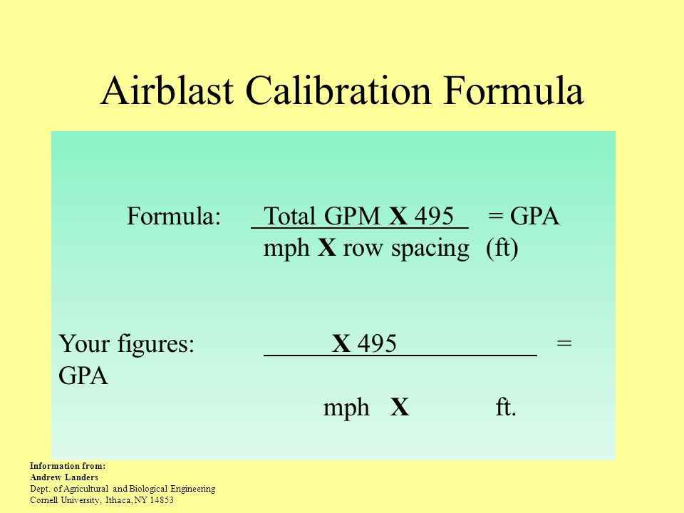 Airblast Calibration Formula Formula: Total GPM X 495 = GPA mph X row spacing (ft) Your figures: X 495 = GPA mph X ft.