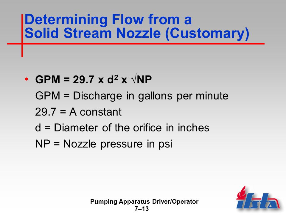 Pumping Apparatus Driver/Operator 7–13 Determining Flow from a Solid Stream Nozzle (Customary) GPM = 29.7 x d 2 x √NP GPM = Discharge in gallons per minute 29.7 = A constant d = Diameter of the orifice in inches NP = Nozzle pressure in psi