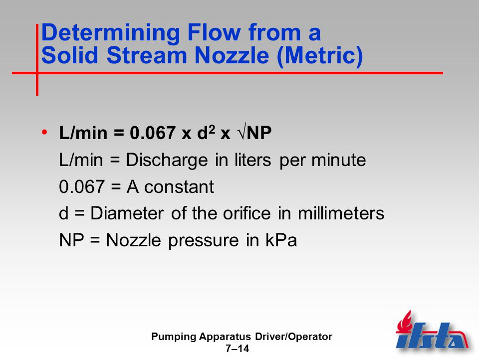 Pumping Apparatus Driver/Operator 7–14 Determining Flow from a Solid Stream Nozzle (Metric) L/min = 0.067 x d 2 x √NP L/min = Discharge in liters per minute 0.067 = A constant d = Diameter of the orifice in millimeters NP = Nozzle pressure in kPa