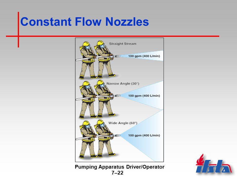 Pumping Apparatus Driver/Operator 7–22 Constant Flow Nozzles