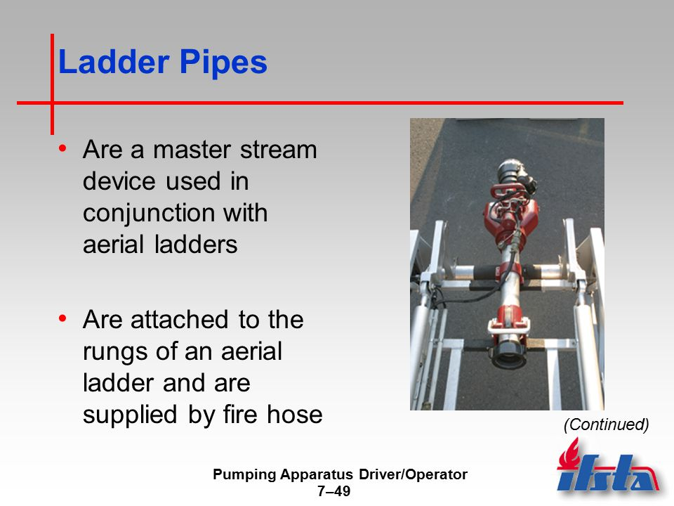 Pumping Apparatus Driver/Operator 7–49 Ladder Pipes Are a master stream device used in conjunction with aerial ladders Are attached to the rungs of an aerial ladder and are supplied by fire hose (Continued)