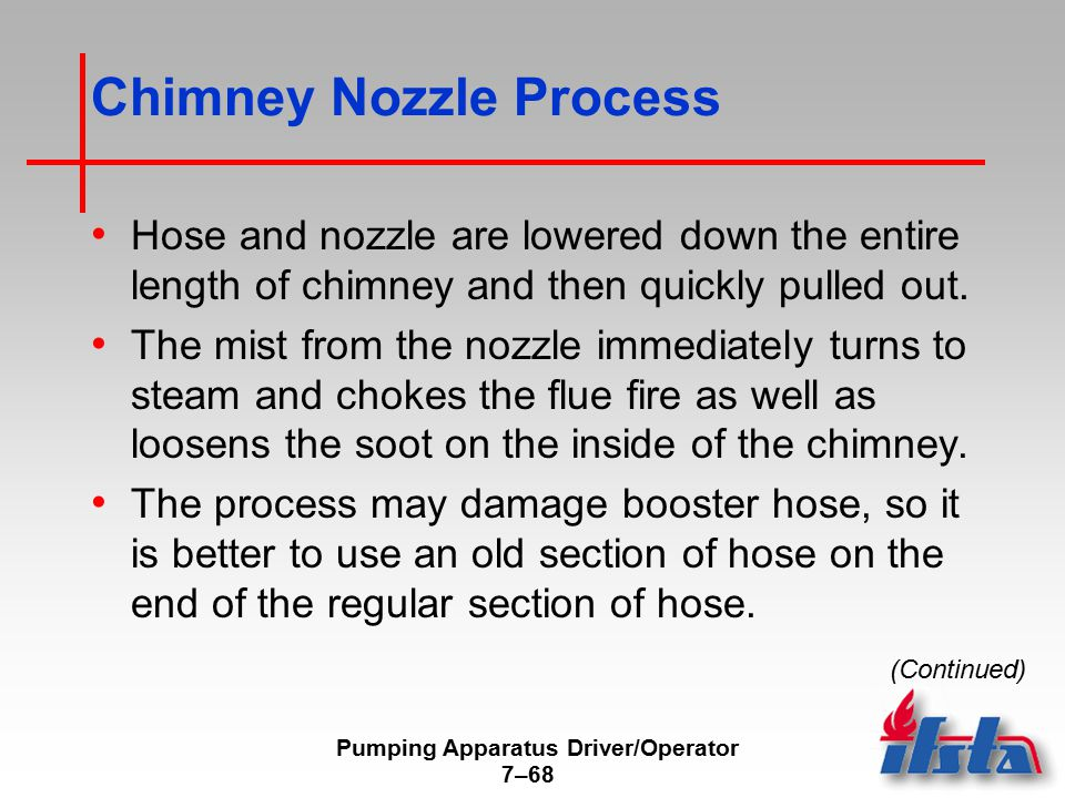 Pumping Apparatus Driver/Operator 7–68 Chimney Nozzle Process Hose and nozzle are lowered down the entire length of chimney and then quickly pulled out.