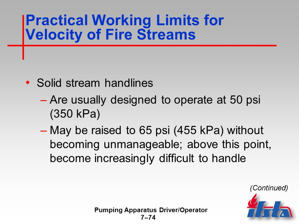 Pumping Apparatus Driver/Operator 7–74 Practical Working Limits for Velocity of Fire Streams Solid stream handlines –Are usually designed to operate a