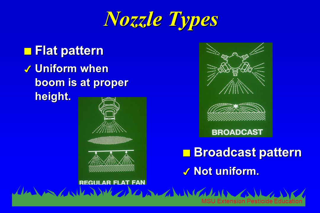 MSU Extension Pesticide Education Nozzle Types n Flat pattern 4 Uniform when boom is at proper height. n Broadcast pattern 4 Not uniform.
