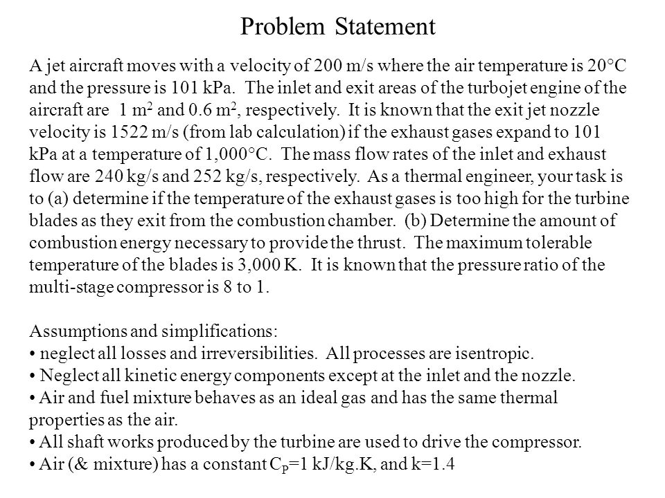 Problem Statement A jet aircraft moves with a velocity of 200 m/s where the air temperature is 20°C and the pressure is 101 kPa. The inlet and exit ar
