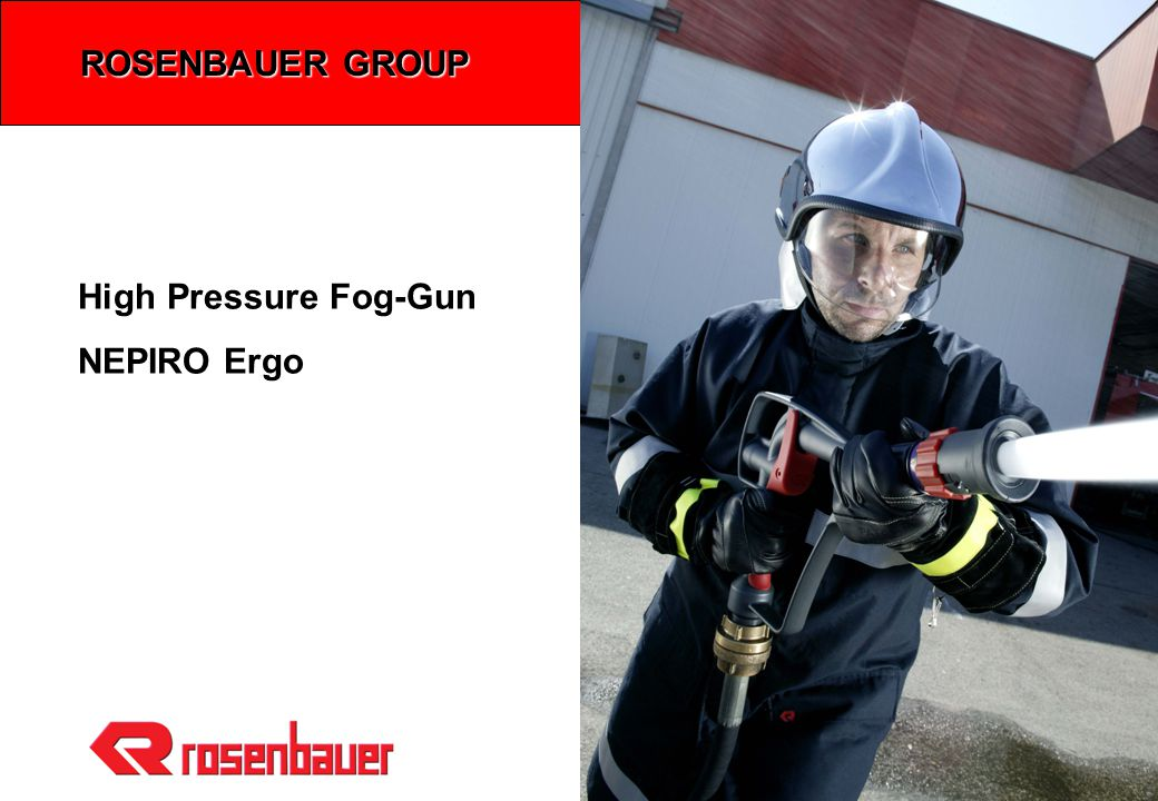 NEPIRO Ergo / Folie 2 High Pressure Fog-Gun NEPIRO Ergo Optimized HP-Fog-Gun with O-Stream nozzle and separate trigger shut-off valve (200ltr/min @ 40bar) Benefits: 4Not sensitive to clogging  Flushing of particles up to 5mm diameter 4Reliable closing of the shut-off valve  Separate shut-off valve 4Improved spray pattern  Self-protection water shield  60°, 30° fog pattern and full jet 4Ergonomic design  Large supporting surface  Reaction Forces are directed to the rear hand