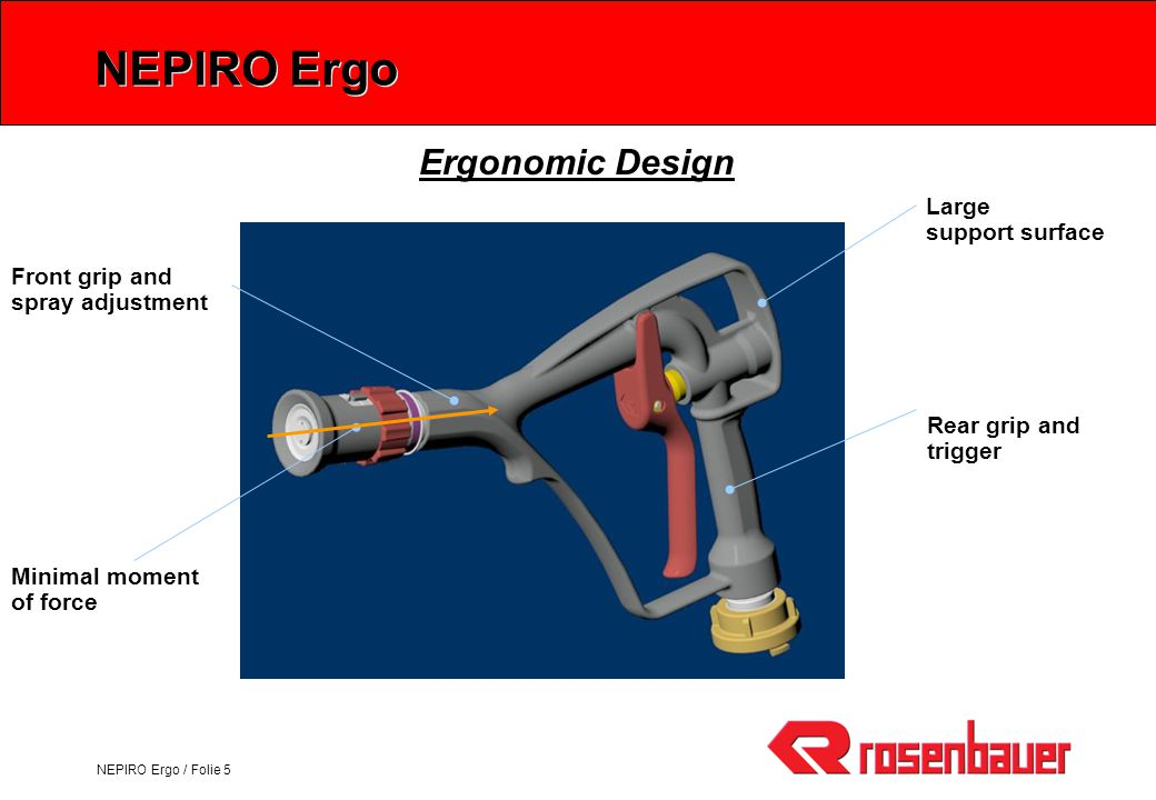 NEPIRO Ergo / Folie 6 Nepiro Ergo O-Stream Nozzle: 4 Full jet Spray (30°, 60°) User-protective shield 4 Ball raster 4 Flushing 6mm Valve: 4 Variable output from 0 to 200 ltr/min (40 bar) 4 Free passage > 6 mm 4 Trigger force < 75 N 4 Trigger travel 30 mm Foam Barrel: 4 Removable nozzle shield 4 Lockable foam barrel Support bracket: 4 New support bracket Casting: 4 Rubber-coated casting Technical Data