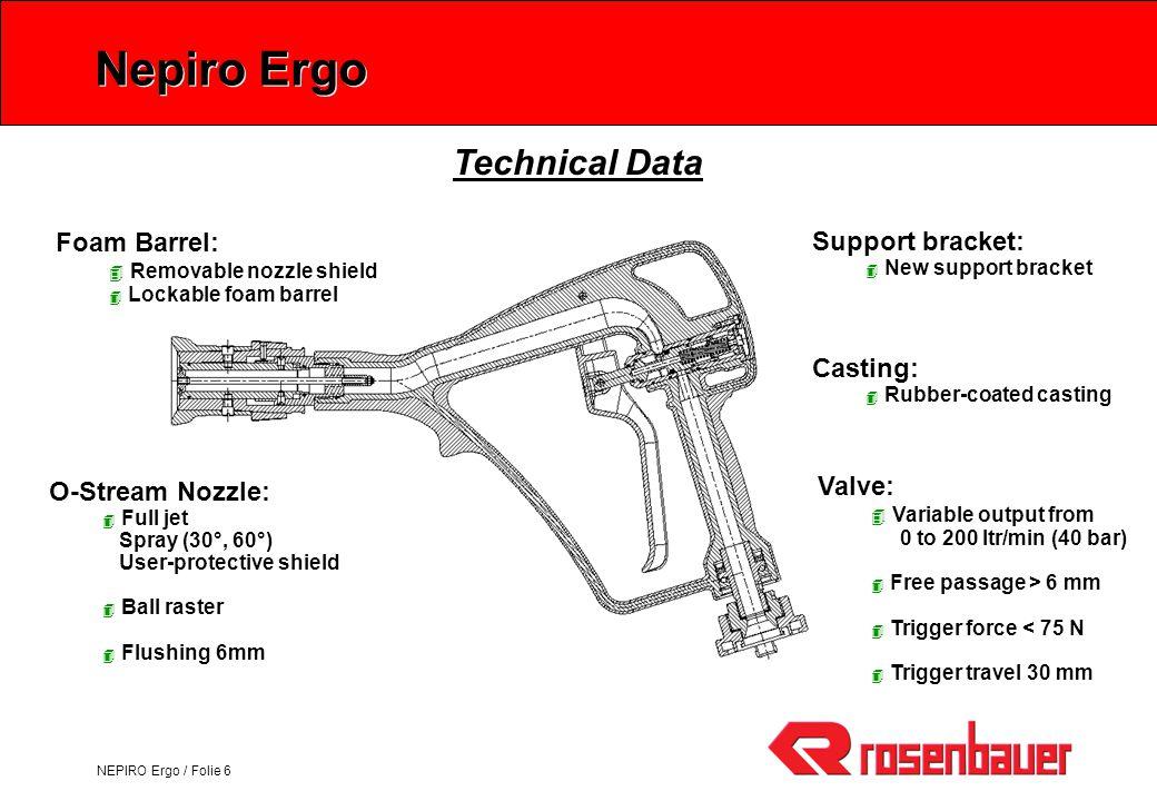 NEPIRO Ergo / Folie 6 Nepiro Ergo O-Stream Nozzle: 4 Full jet Spray (30°, 60°) User-protective shield 4 Ball raster 4 Flushing 6mm Valve: 4 Variable o