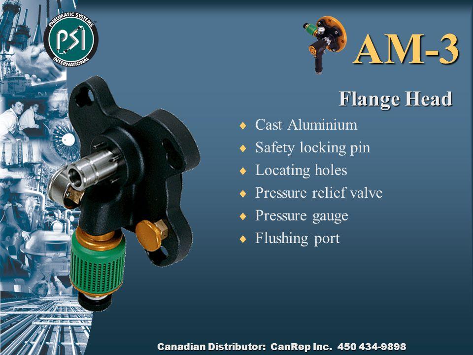 Canadian Distributor: CanRep Inc. 450 434-9898 AM-3 Flange Adaptor Ring  Billet Aluminium  Locator pins  Attachment holes  Safety pin locking hole