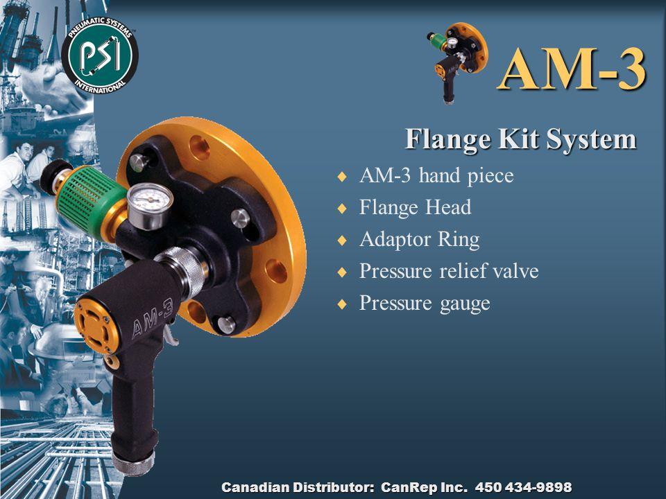 Canadian Distributor: CanRep Inc. 450 434-9898 AM-3 Flange Head  Cast Aluminium  Safety locking pin  Locating holes  Pressure relief valve  Press