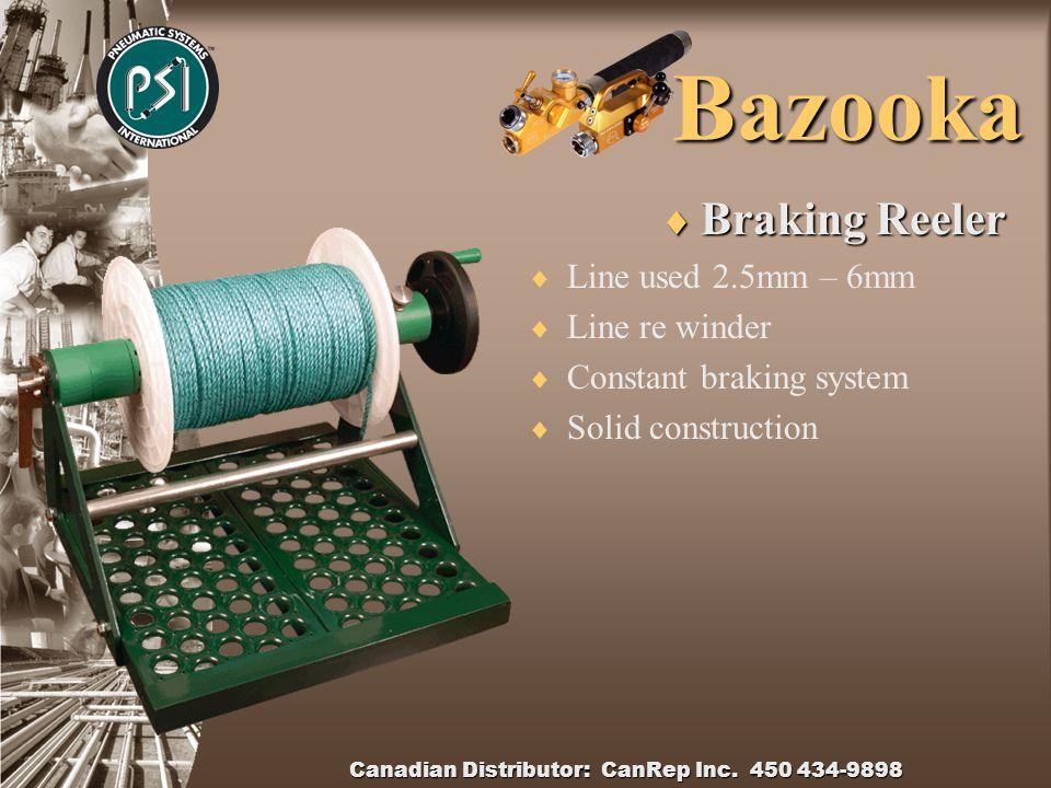 Canadian Distributor: CanRep Inc. 450 434-9898 Bazooka Bazooka Shaft  Steel shaft  Rubber Membrane  Interlocking spigot  Sizes 24mm to 190mm