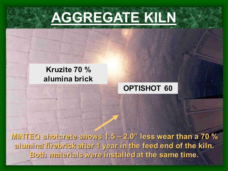 "AGGREGATE KILN OPTISHOT 60 Kruzite 70 % alumina brick MINTEQ shotcrete shows 1.5 – 2.0"" less wear than a 70 % alumina firebrick after 1 year in the fe"