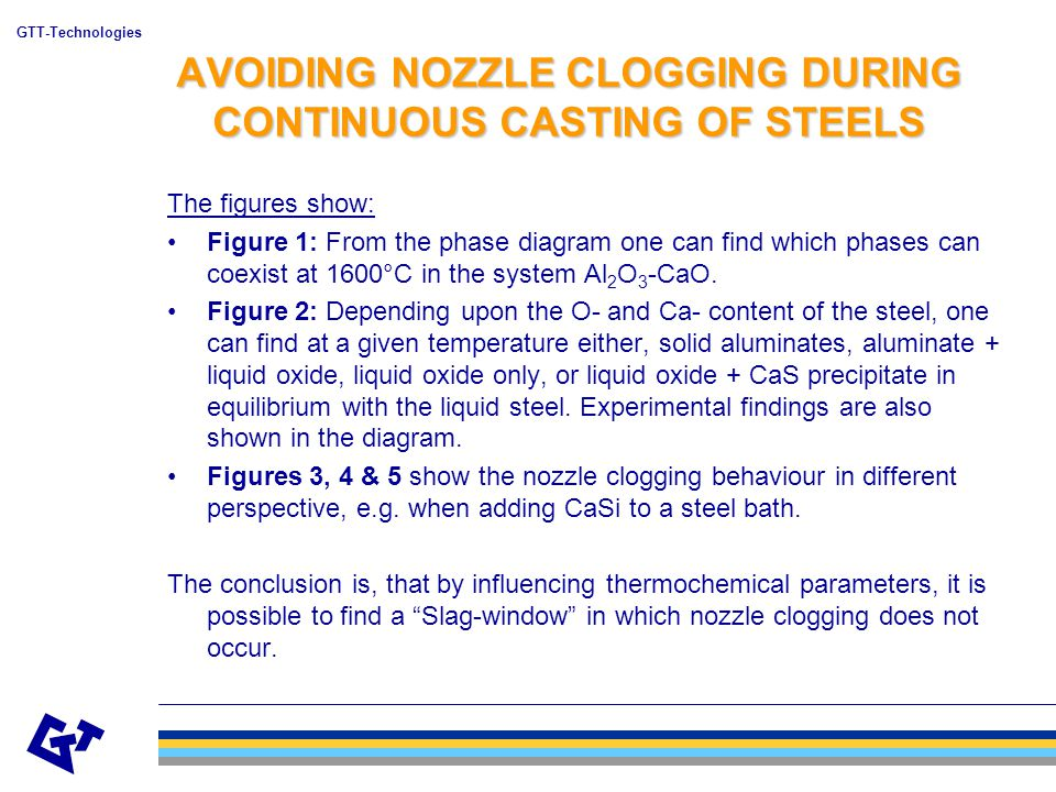 GTT-Technologies AVOIDING NOZZLE CLOGGING DURING CONTINUOUS CASTING OF STEELS The figures show: Figure 1: From the phase diagram one can find which phases can coexist at 1600°C in the system Al 2 O 3 -CaO.