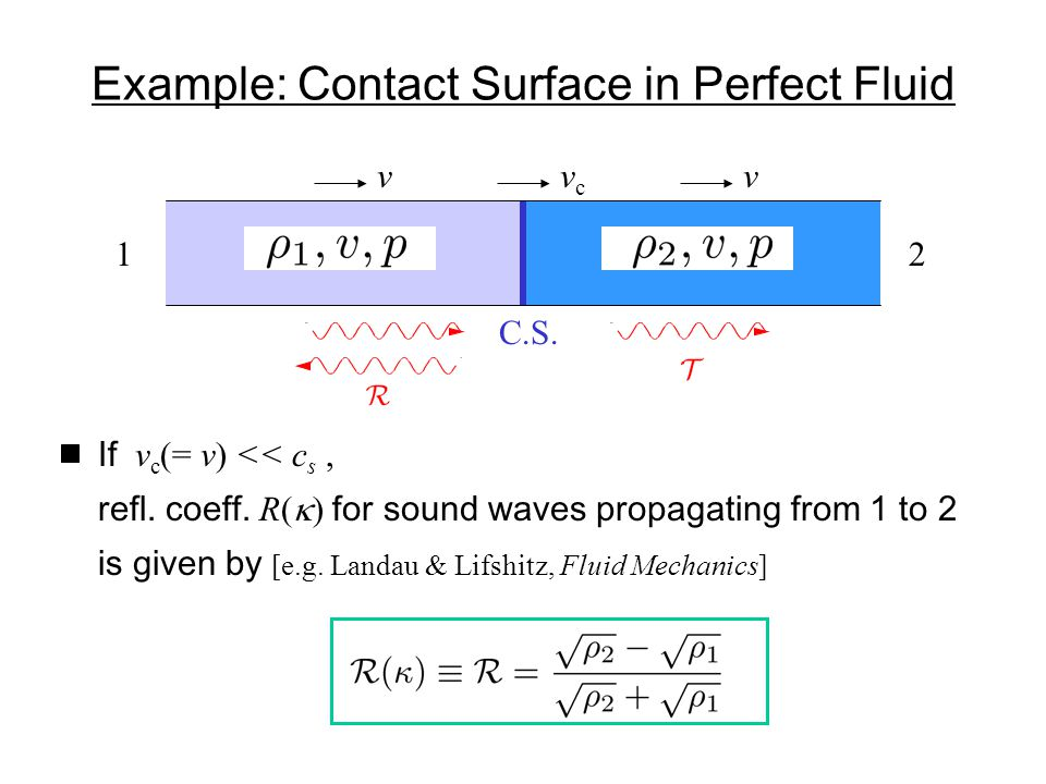 Example: Contact Surface in Perfect Fluid vcvc vv 12 If v c (= v) << c s, refl.