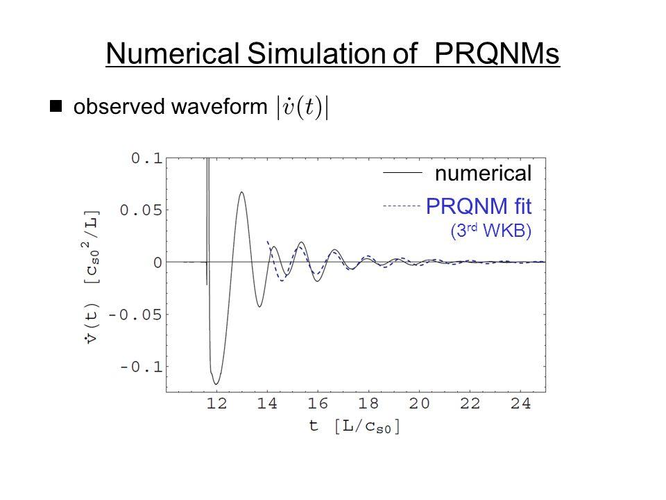 observed waveform PRQNM fit (3 rd WKB) numerical Numerical Simulation of PRQNMs
