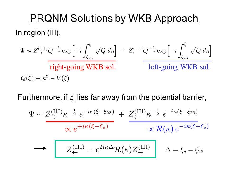 PRQNM Solutions by WKB Approach In region (III), right-going WKB sol.left-going WKB sol.