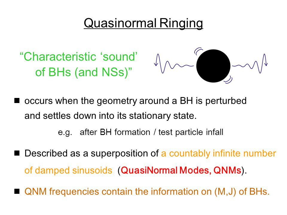 Quasinormal Ringing Characteristic 'sound' of BHs (and NSs) occurs when the geometry around a BH is perturbed and settles down into its stationary state.