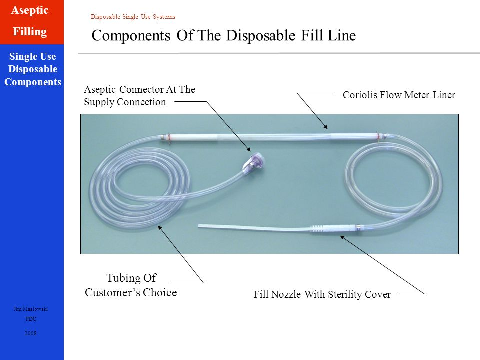 Disposable Single Use Systems Jim Maslowski PDC 2008 Single Use Disposable Components Aseptic Filling Components Of The Disposable Fill Line Aseptic Connector At The Supply Connection Coriolis Flow Meter Liner Tubing Of Customer's Choice Fill Nozzle With Sterility Cover