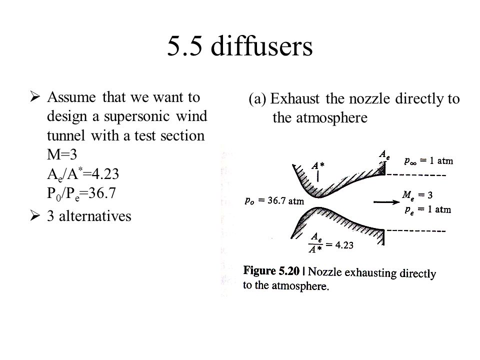 5.5 diffusers  Assume that we want to design a supersonic wind tunnel with a test section M=3 A e /A * =4.23 P 0 /P e =36.7  3 alternatives (a) Exhaust the nozzle directly to the atmosphere