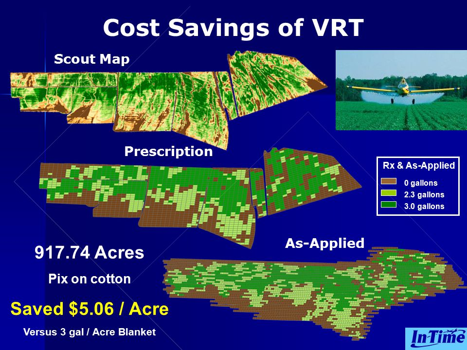 2.3 gallons 0 gallons 3.0 gallons Rx & As-Applied 917.74 Acres Pix on cotton Saved $5.06 / Acre Versus 3 gal / Acre Blanket Cost Savings of VRT Scout Map Prescription As-Applied