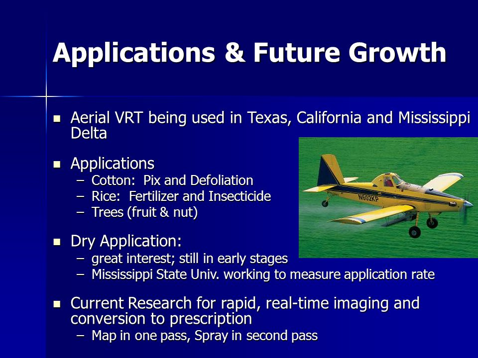 Applications & Future Growth Aerial VRT being used in Texas, California and Mississippi Delta Aerial VRT being used in Texas, California and Mississippi Delta Applications Applications –Cotton: Pix and Defoliation –Rice: Fertilizer and Insecticide –Trees (fruit & nut) Dry Application: Dry Application: –great interest; still in early stages –Mississippi State Univ.
