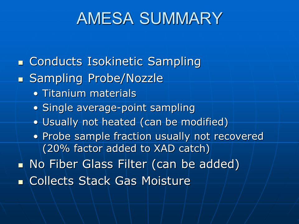 AMESA SUMMARY Conducts Isokinetic Sampling Conducts Isokinetic Sampling Sampling Probe/Nozzle Sampling Probe/Nozzle Titanium materialsTitanium materia