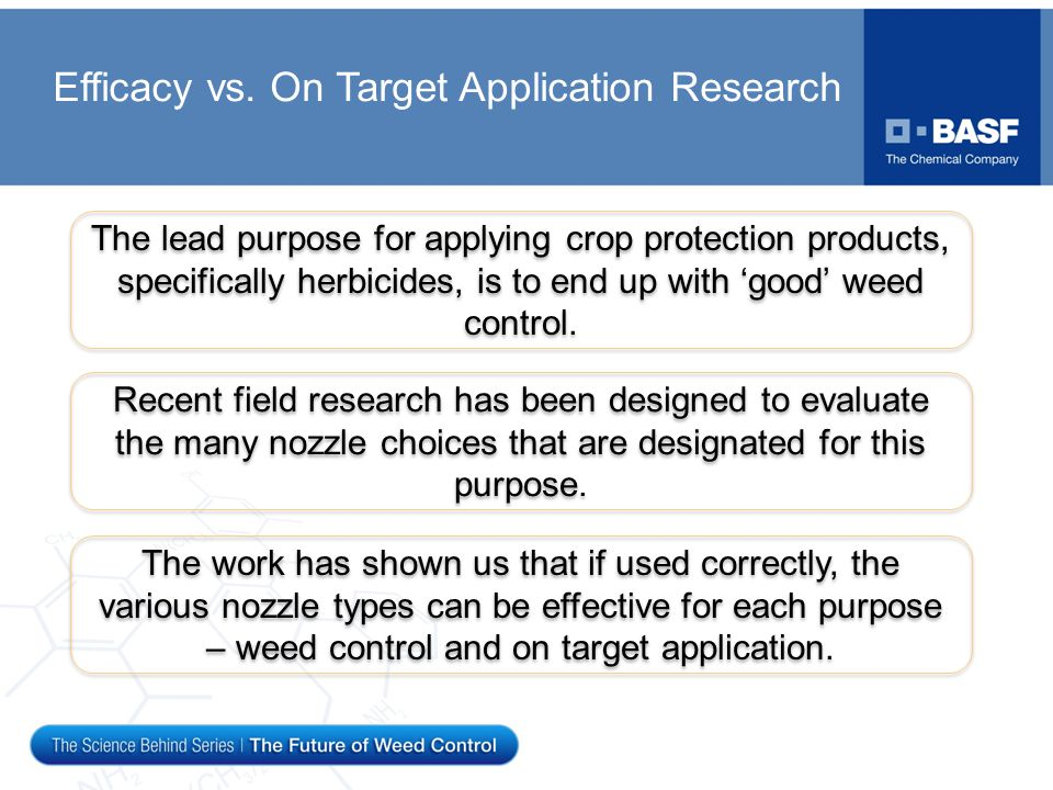 Efficacy vs. On Target Application Research The lead purpose for applying crop protection products, specifically herbicides, is to end up with 'good'