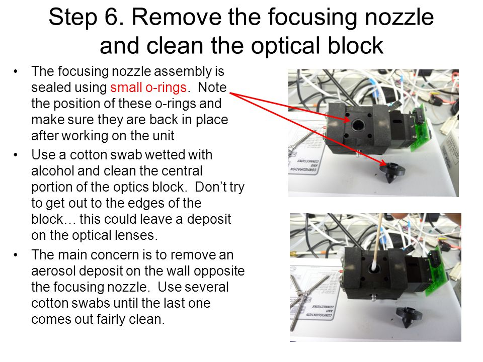 Step 6. Remove the focusing nozzle and clean the optical block The focusing nozzle assembly is sealed using small o-rings. Note the position of these