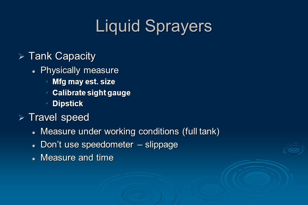 Liquid Sprayers  Tank Capacity Physically measure Physically measure Mfg may est.