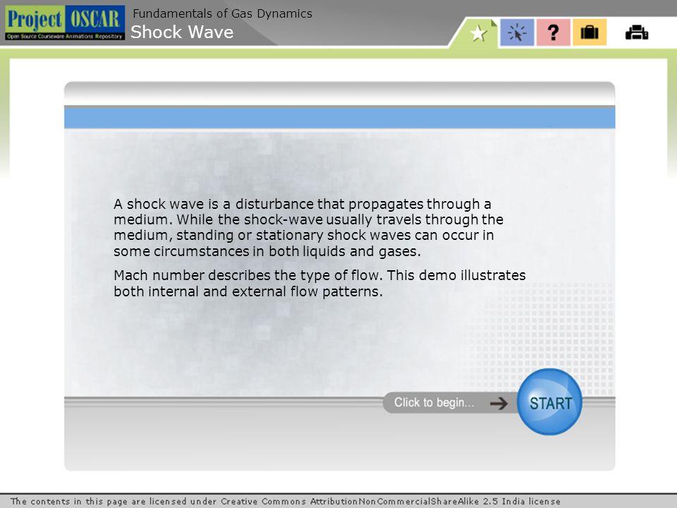 Shock Wave Fundamentals of Gas Dynamics A shock wave is a disturbance that propagates through a medium.