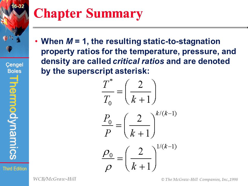 WCB/McGraw-Hill © The McGraw-Hill Companies, Inc.,1998 Thermodynamics Çengel Boles Third Edition Chapter Summary When M = 1, the resulting static-to-s
