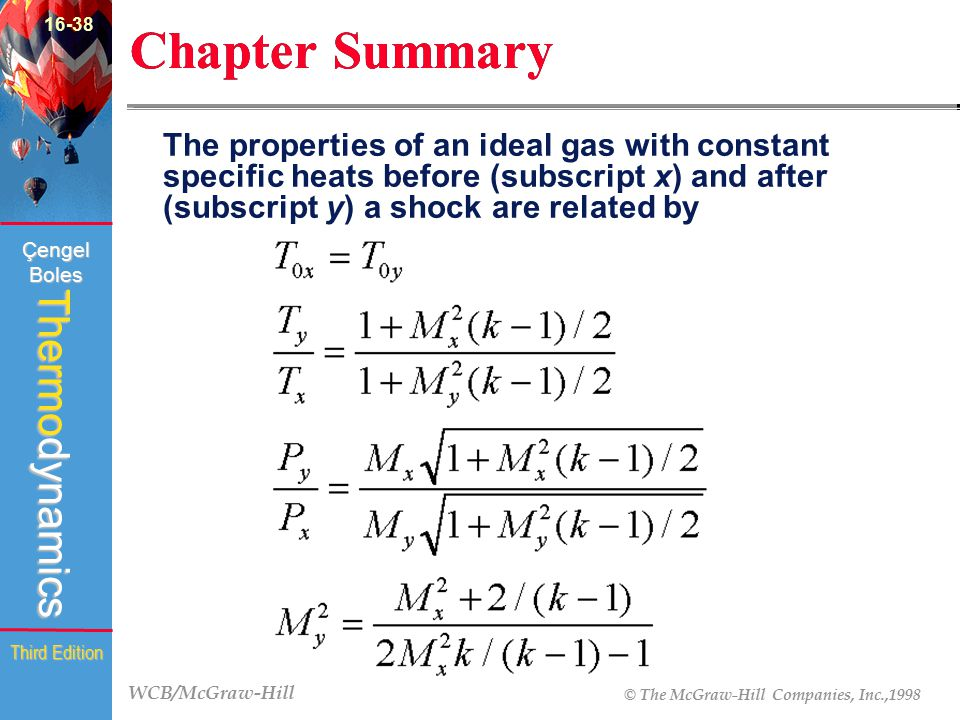 WCB/McGraw-Hill © The McGraw-Hill Companies, Inc.,1998 Thermodynamics Çengel Boles Third Edition Chapter Summary The properties of an ideal gas with c