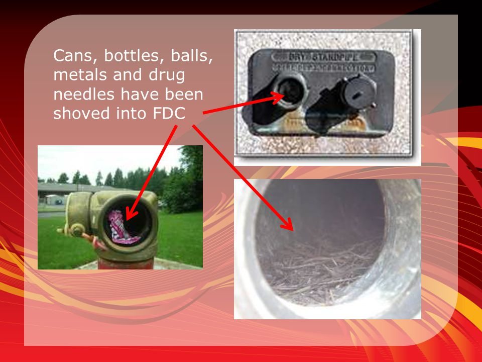 Cans, bottles, balls, metals and drug needles have been shoved into FDC