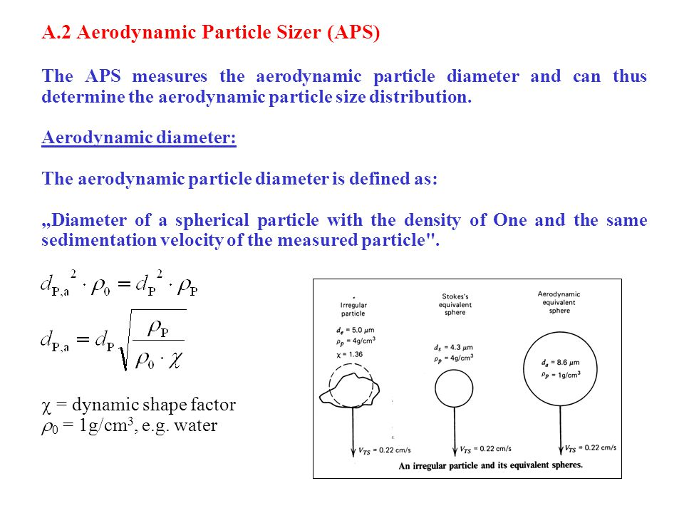 A.2 Aerodynamic Particle Sizer (APS) The APS measures the aerodynamic particle diameter and can thus determine the aerodynamic particle size distribution.