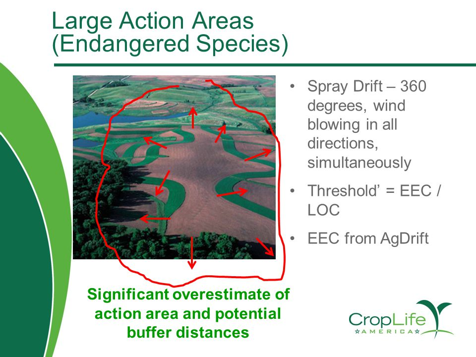 Large Action Areas (Endangered Species) Spray Drift – 360 degrees, wind blowing in all directions, simultaneously Threshold' = EEC / LOC EEC from AgDr