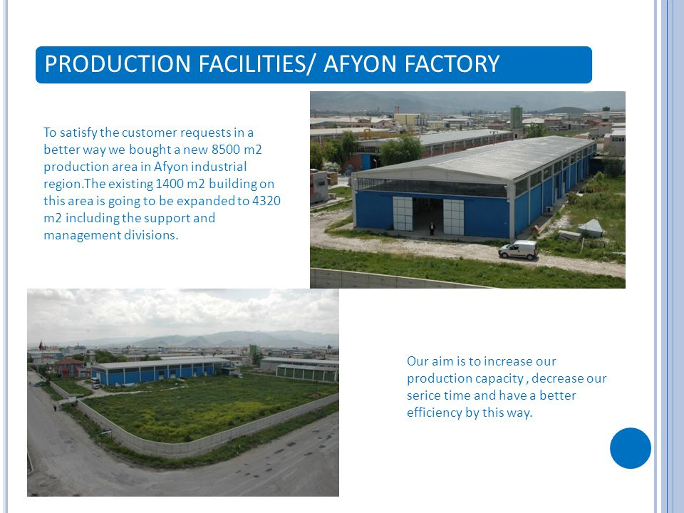 PRODUCTION FACILITIES/ AFYON FACTORY To satisfy the customer requests in a better way we bought a new 8500 m2 production area in Afyon industrial region.The existing 1400 m2 building on this area is going to be expanded to 4320 m2 including the support and management divisions.
