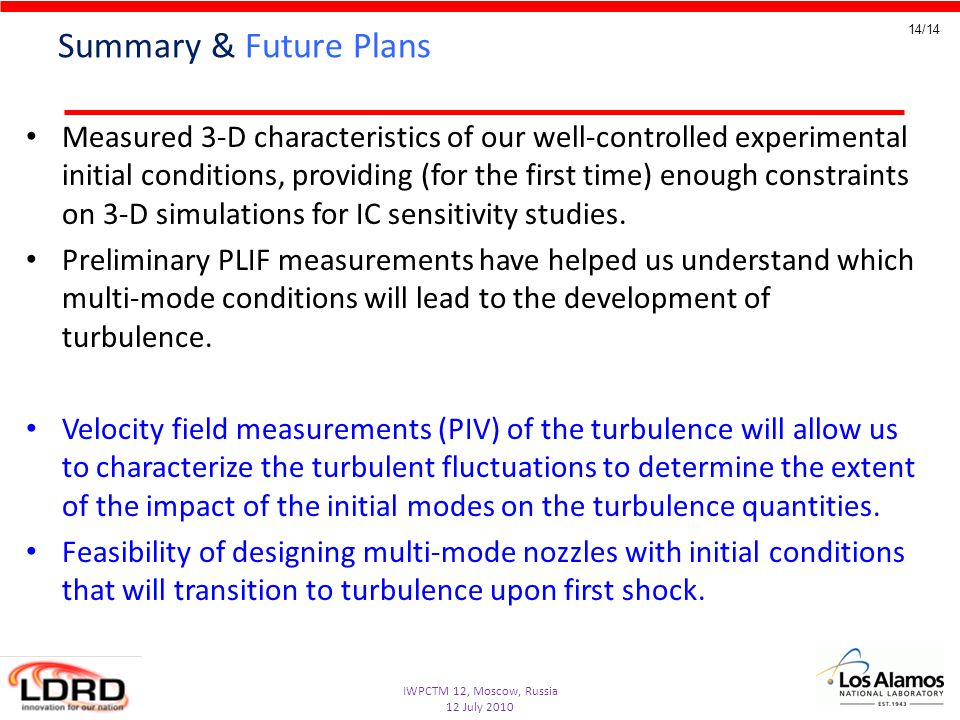 IWPCTM 12, Moscow, Russia 12 July 2010 14/14 Summary & Future Plans Measured 3-D characteristics of our well-controlled experimental initial condition