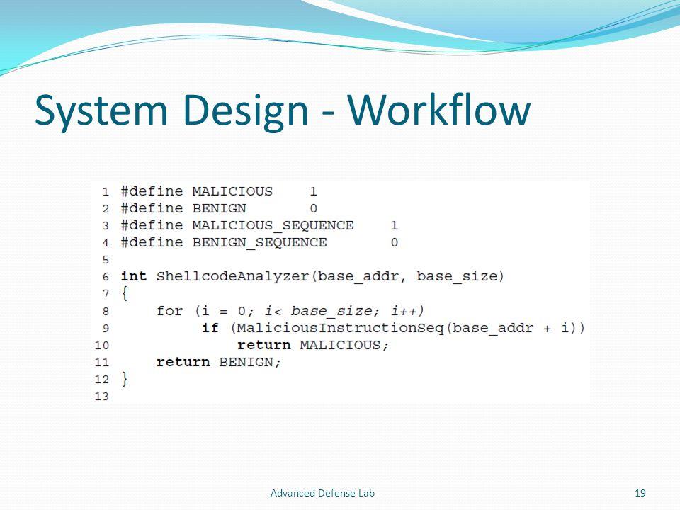 System Design - Workflow Advanced Defense Lab19