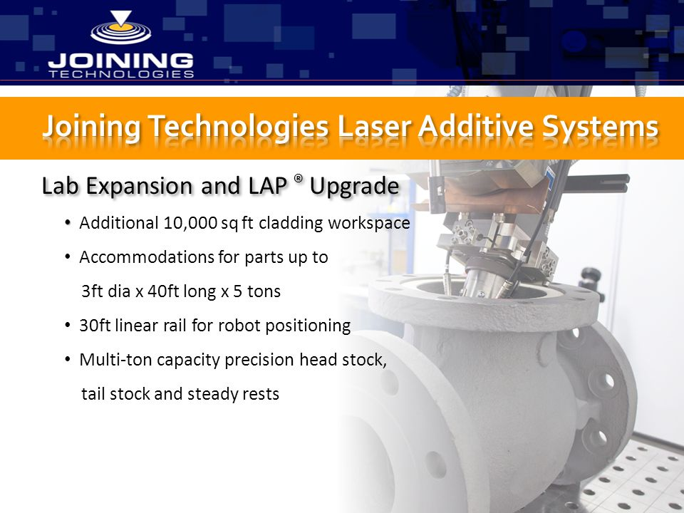 Lab Expansion and LAP ® Upgrade Additional 10,000 sq ft cladding workspace Accommodations for parts up to 3ft dia x 40ft long x 5 tons 30ft linear rai