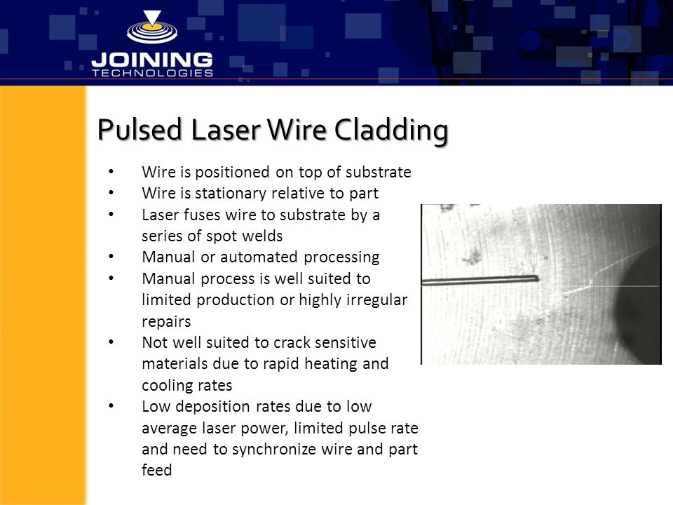 Pulsed Laser Wire Cladding Wire is positioned on top of substrate Wire is stationary relative to part Laser fuses wire to substrate by a series of spo